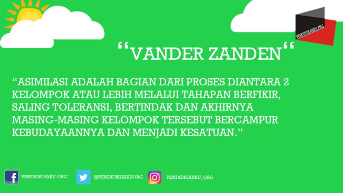 Pengertian Asimilasi Menurut Vander Zanden