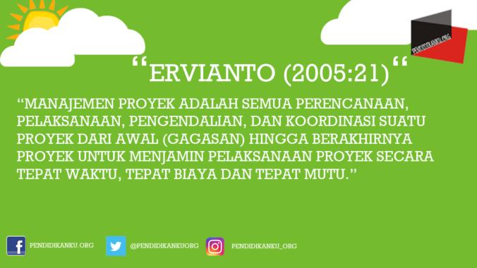 Manajemen Proyek Ervianto (2005:21)