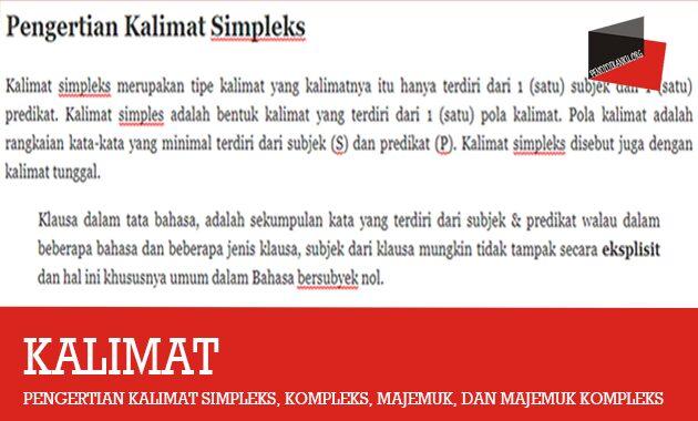 Pengertian Kalimat Simpleks, Kompleks, Majemuk, Dan Majemuk Kompleks