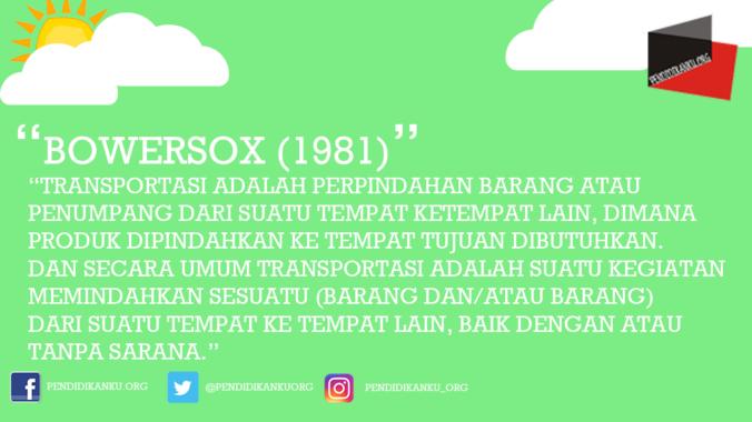 Transportasi Menurut Bowersox (1981)
