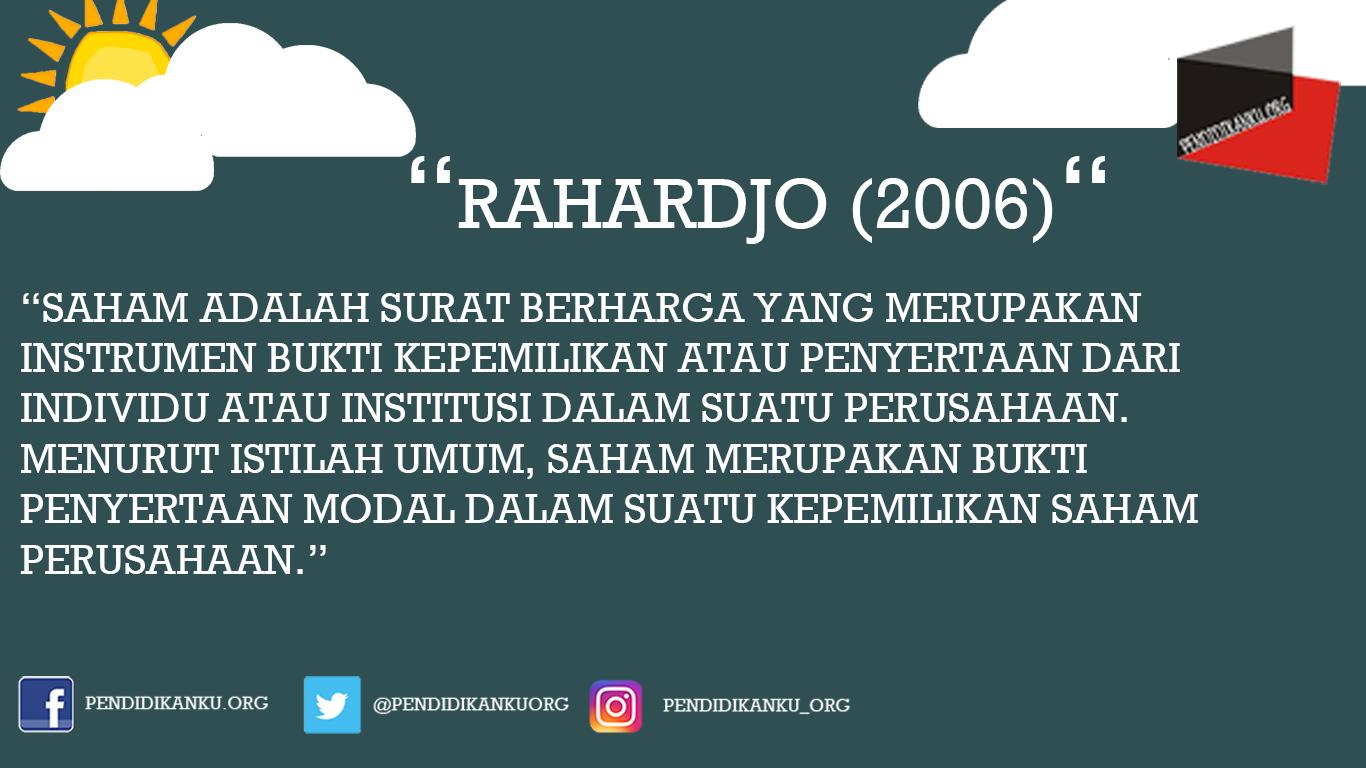 Saham Menurut Rahardjo (2006)