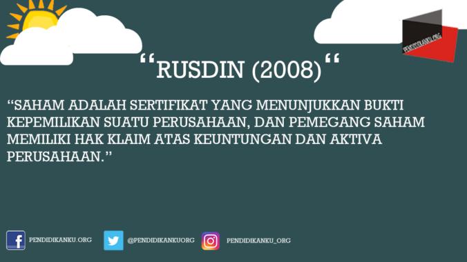 Saham Menurut Rusdin (2008)