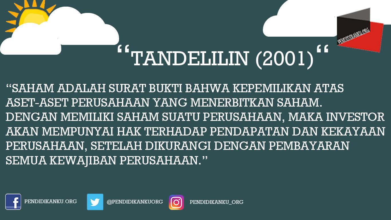 Saham Menurut Tandelilin (2001)